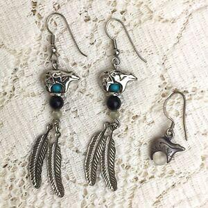 Vintage Silver Zuni Spirit Bear Feather Earrings Southwestern Guardian Creator