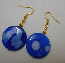 Handmade unique mother of pearl shell gold plated earrings spotty navy blue