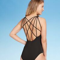 Sunn Lab Swim Women's Black Strappy Back One Piece Swimsuit, Sz XL, NWT