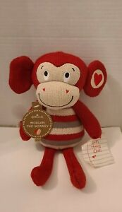 """HALLMARK MORGAN THE MONKEY PLUSH STUFFIE 12"""" TALL NEW WITH TAG RED LOVE HEARTS"""