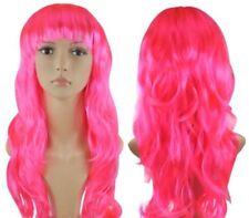 Perruques, extensions et matériel roses longs ondulés pour femme
