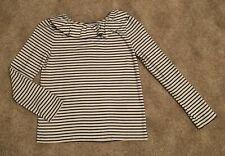 Mini Boden Navy/White Stripe Ruffle Neck Top, Size 9-10