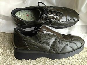 Ladies Rieker dark green leather & patent lace up trainer style shoes UK 6 EU 39