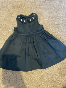 Mamas And Papas Teale Bird Embroidered Collar Baby Girl Dress Worn Once 0-3 Mon
