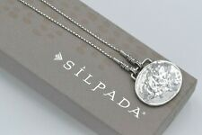 Silpada Hammered Sterling Silver Oval Pendant Necklace N1356