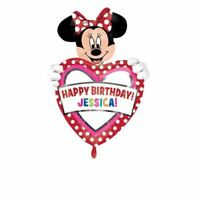 61cm Disney Minnie Mouse Red Polka Dots Personalised Party Heart Foil Balloon