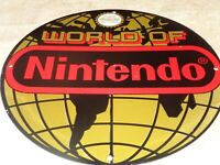 "VINTAGE WORLD OF NINTENDO ORIGINAL NES 11 3/4"" PORCELAIN METAL MARIO SYSTEM SIGN"