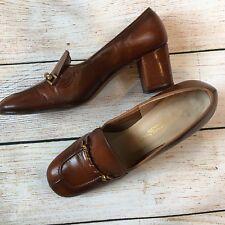 Vintage Florsheim Womens Brown Leather Block Heel Oxfords Shoes 5.5 N Aa