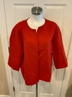 Eileen Fisher Red Boiled Wool Cardigan Sweater Jacket, Size Medium