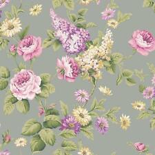 Wallpaper Pink Purple Lavender Yellow Floral Roses and Daisies on Metallic Gray