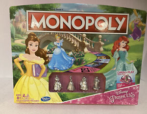Disney Princess Monopoly Game Board Game w/ Open & Play Game Excellent Condition