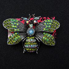 Bee Honeybee Charm Brooch Pin Betsey Johnson Green Enamel Crystal Cute