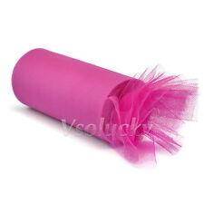 """1 Roll Fuchsia 6"""" x 25yards Tulle Sheer Mesh Ribbons Tutu Wedding Party Decor"""