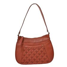 NWT B.MAKOWSKY Welly Hobo Ginger Woven Leather BM13136, MSRP: $248.00