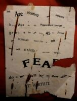 FEAR Vintage punk Rock Flyer 1980's NYC the original Peppermint Lounge hardcore