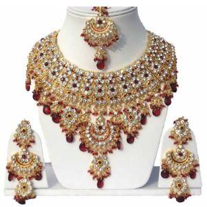 Gold Plated Jodha's Kundan Zerconic Bollywood Necklace Set Jewelry ES1