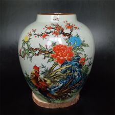 CHINESE OLD MARKED FAMILLE ROSE COLORED ROOSTER PATTERN PORCELAIN JAR