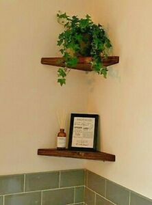 Rustic Chunky Wooden Floating Corner Display Shelf Reclaimed scaffold w fixings