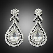 Dazzling Clear crystal rhinestone drop dangle chandelier Women Earring wedding