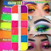 12 Colors/Box Fluorescent Neon Pigment Eye Shadow Makeup Palette Glitter Shimmer