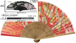 Terra Distribution Hand Fans for Women Foldable [Japan 743 (Strips, Red)