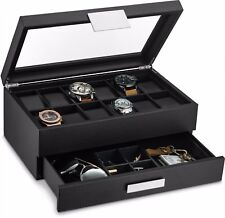 Large 12 Slot Watch Box for Men -Valet Jewelry Drawer Display Case Holder -Black