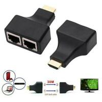 2PCS HDMI Extender to Dual RJ45 Over Cat 5e/6 Network 1080P 4K Adapter Z4D5