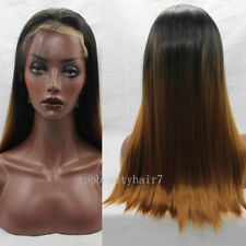 Woman1B/ Copper Yellow Ombre Color Lace Front Wig Synthetic Hair Silky Straight