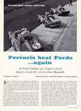 1965 FERRARIS BEAT FORDS @ NURBURG RING  ~  GREAT ORIGINAL 5-PAGE ARTICLE
