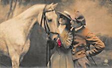 MAN & WOMAN WITH BEAUTIFUL WHITE HORSE~1920s AUSTRIA PHOTO POSTCARD