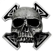 Skull Belt Buckle Death Skeleton & Cross Heavy & 3D Gothic Bones Authentic Pagan