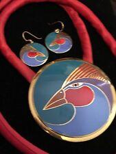 Large Harlequin Bird Red Blue Teal & 22KT GP Laurel Burch Earrings Pendant Set 2