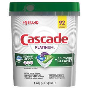 Cascade Platinum ActionPacs Dishwasher Detergent, Fresh (92 ct.) ~ Free Shipping