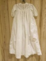 Antique Victorian / Edwardian girls long nightdress- fine white lawn & deep trim
