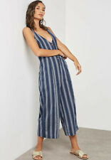 FOREVER 21 CROPPED JUMPSUIT NWT SIZE SMALL BLUE AND WHITE PINSTRIPE