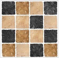 10 Nero Marrone Crema PIETRA TRAVERTINO Effetto Mosaico Piastrelle Adesivi Piastrelle Taglia 6x6