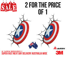 2 X 3D CAPTAIN AMERICA SHIELD FUNNY CAR, TRUCK WALL OR DOOR STICKER DECAL