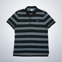 Lacoste Men's Multicoloured Striped Short Sleeve Pique Cotton Polo Shirt Size M