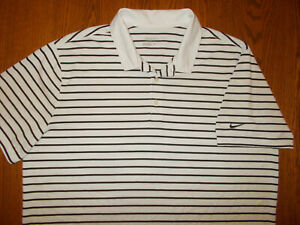 NIKE GOLF SHORT SLEEVE BLACK & WHITE STRIPED POLO SHIRT MENS XL EXCELLENT COND.