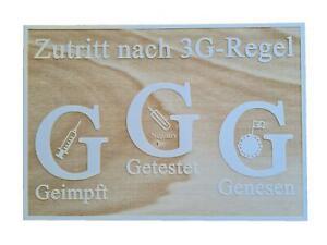 3G Schild Holzschild mit den 3G-Regel 28,5cm x 20 cm