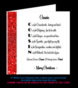 'Cousin Poem' Birthday Card, Christmas Card, Amazing Cousin, Special Cousin