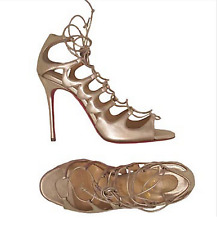 CHRISTIAN LOUBOUTIN Aqueduchesse Gold Leather Cage Strappy Sandals Sz 40