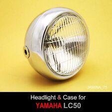 Yamaha LC50 Champ 50 Moped Mini Bike Headlight + Rim Ring + Chrome Bucket Case