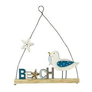 NEW Coastal Hanging Dotty Seagull & Beach Wooden Seaside Decoration