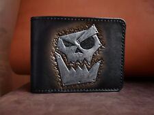 Handmade natural leather wallet  stylished by Warhammer 40k - Gorka and Morka
