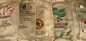 3 Burlap Coffee Bean Bags w/ Shipping