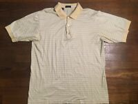 Jeff Rose Men's Large Short Sleeve Dress Shirt Yellow 100% Cotton Made in Italy