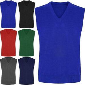 Kids Boys Girls School Uniform Knitted V Neck Sleeveless Tank Top Jumper 3-13