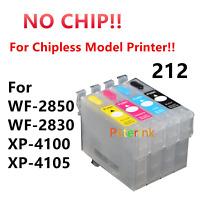 NO CHIP 4 EMPTY Refill Ink Cartridge alternative for WF-2850 XP-4100 T212 212 XL
