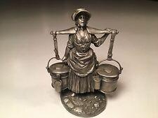 Vintage Franklin Mint Pewter Figurine The Milkmaid Cries Of Olde London Series